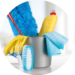 Cleaning Bucket with Cleaning Supplies