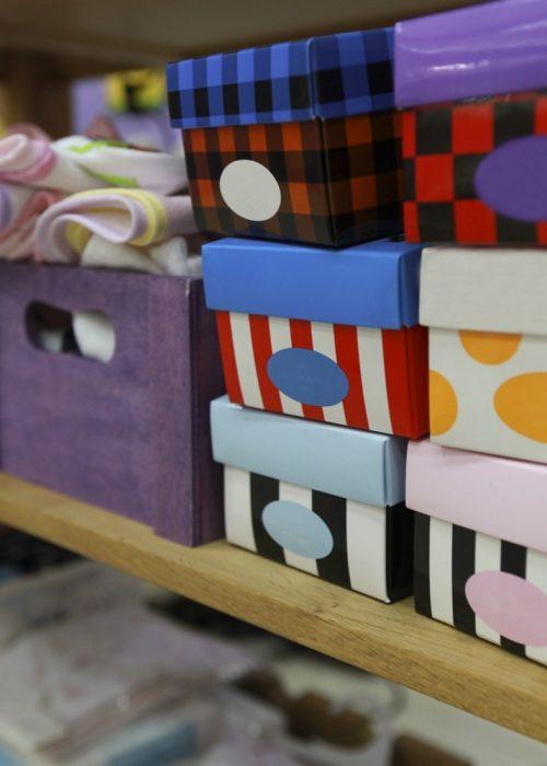 Organization Boxes on Closet Shelf