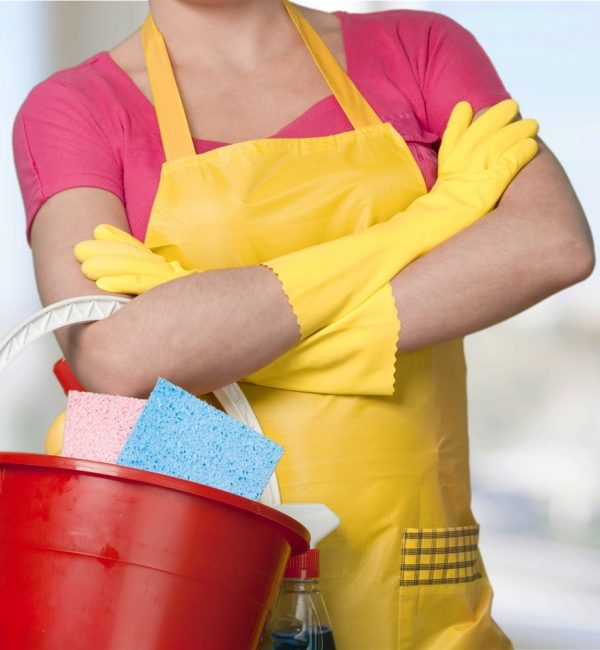 Maid with Bucket and Cleaning Items