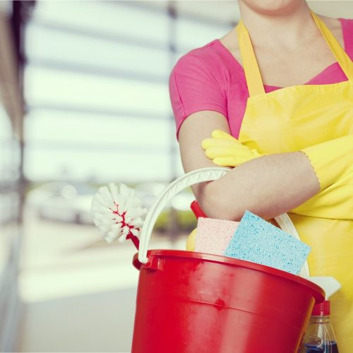 Woman with Cleaning bucket in a Business